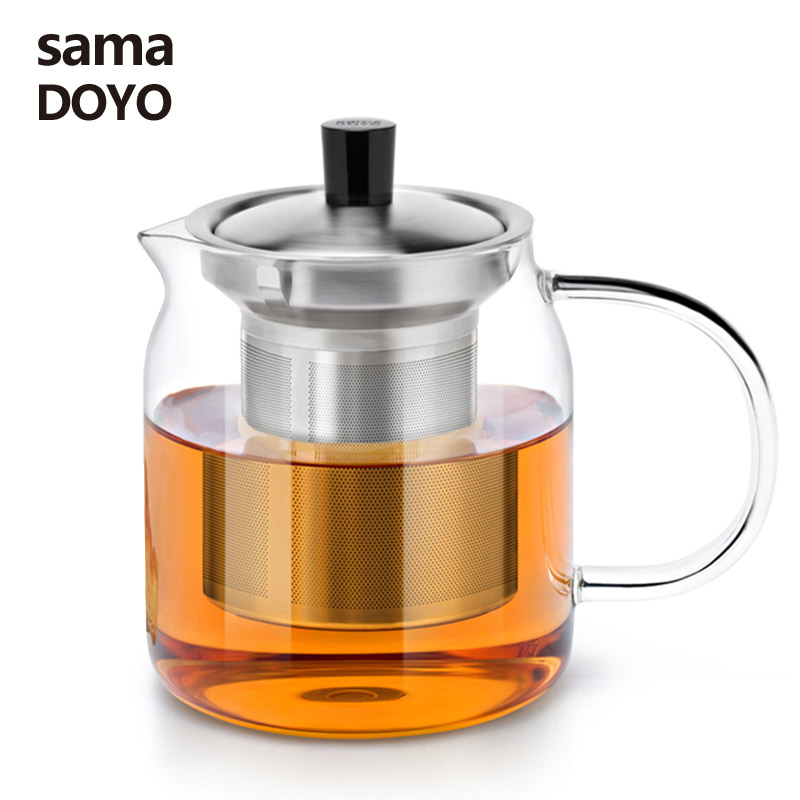 Samadoyo Elegant Cup Heat Resistant Glass Teapot Kungfu Tea Set With Stainless Steel Filter Infuser de cha Convenient Office Tea