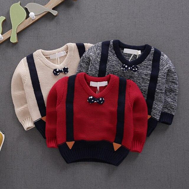 Мужской дети осенние новые вязание шерсть детские детские теплые пуловеры свитер моды женского пола ребенка свитер
