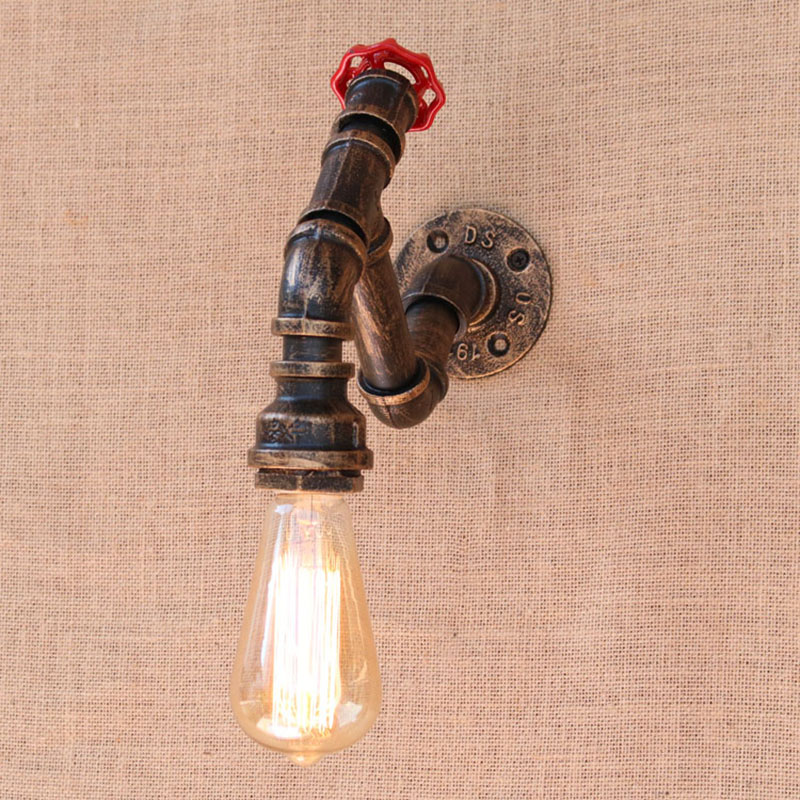 Retro metal Water pipe vintage loft wall lamp with edison/led bulb lights for cafe hallway/bedroom/living room/bathroom/bar/cafe loft retro iron water pipe vintage wall lamp with edison led bulb e27 lights ac 110v 220v for cafe hallway bedroom study bar
