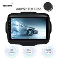 Car Multimedia 2 din Radio for Jeep Renegade Android 8.0 2016 2017 2018 GPS with 8 core IPS Screen 4gb+32gb WIFI AUX USB Map RDS