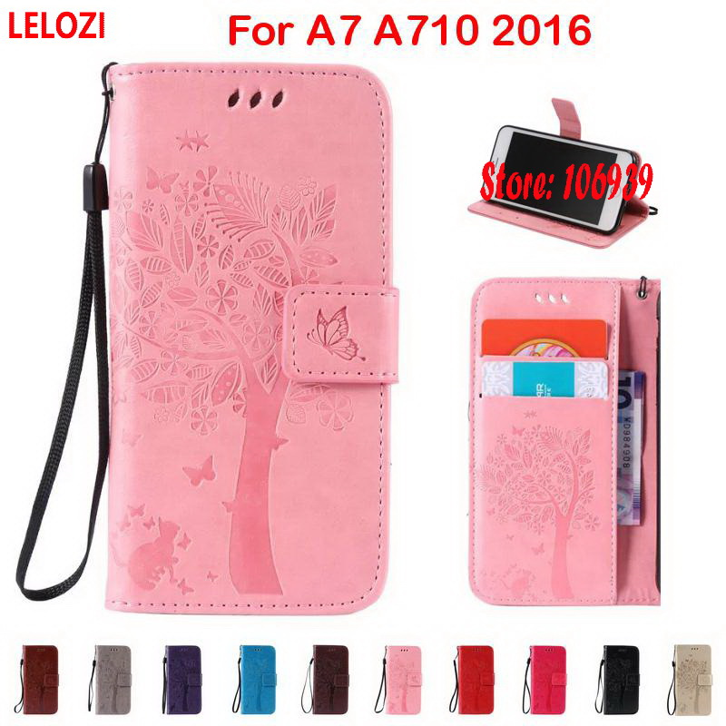 LELOZI Tree Cat Butterfly PU Leather Lether Lather Wallet Girl Case coque For Samsung Galaxy A7 A710 2016 A 7 A710F 710 Grey