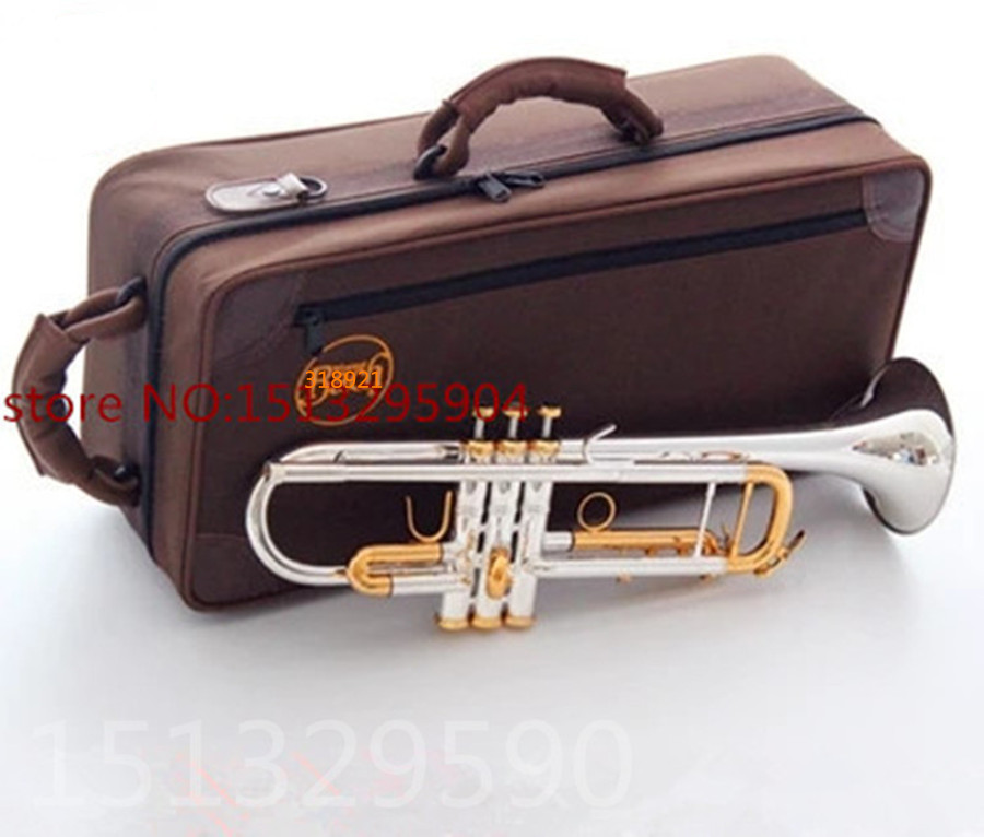 trumpet Bach Silver-plated body gold key LT180S-72 B flat professional trumpet bell Top musical instruments Brass horn alto b golden trumpet silver band special instruments suitable for primary employs professional performance
