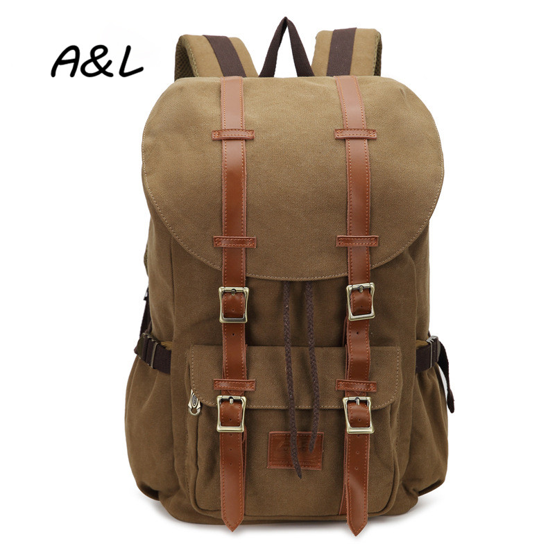 Vintage Casual Canvas Backpack for Men Outdoor Travel Camping Backpack Large Capacity Laptop Bag Women Fashion School Bag A0086 aosbos fashion portable insulated canvas lunch bag thermal food picnic lunch bags for women kids men cooler lunch box bag tote