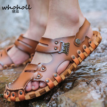 WHOHOLL 2018 Summer Men's Sandals British Fashion Leather Beach Shoes Mens Casual Massage Non-Slip Large Slippers Flats 2018 summer big size men s sandals british fashion genuine leather beach shoes mens casual massage non slip large slippers flats