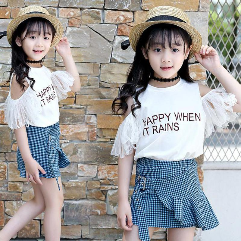 2018 Fashion Toddler Girls Clothes Set Summer Short Sleeve Kids Off Shoulder Tops T-shirts + Plaid Skirts Girls Clothing Outfits 2pcs children outfit clothes kids baby girl off shoulder cotton ruffled sleeve tops striped t shirt blue denim jeans sunsuit set