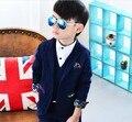 Новый 2017 весна осень мальчики господа лоскутное блейзер комплект одежды 3 шт. мальчики полный платье одежда set мальчики костюм