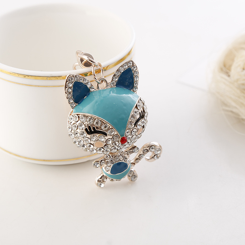 H:HYDE lovely crystal fox keychains women trinkets suspension on bags car key chain keyrings toy gifts llaveros