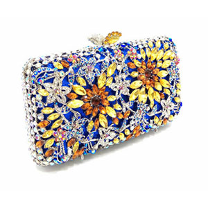 Newest Red Luxury Diamond Crystal Evening Bag Flower Clutch Party Purse for Wedding Dinner Bag Women Banquet Bag newest design evening bags ring diamond clutch chain shoulder bag purses wedding party banquet bag blue gold green red 88621 d