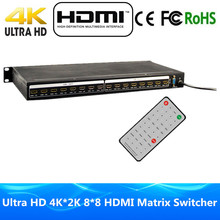 High Quality 8 Input 8 Output HDMI Matrix 8×8 With RS232/RS485 & IR Romote Control HDMI1.4v Ultra Full HD 4Kx2K 3D HDMI Switcher