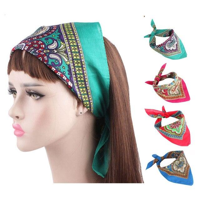 e4065d74315 2018 Hot Sale women hair accessories Paisley design Square Bandanas 100%  Cotton Head Wrap Scarf headbands hair bands for girls