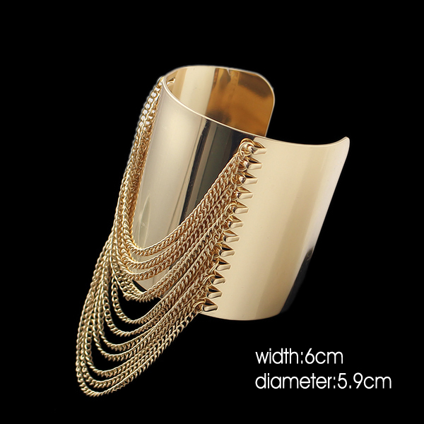 FANHUA Gold Color Big Cuff Bracelet  Punk Summer Style Pulseira Ouro Wide Gold Chain Tassel Bangles