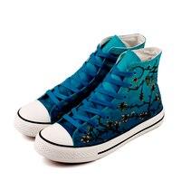 E-LOVมือภาพวาดงานศิลปะที่สวยงามอัลมอนด์ผ้าใบผู้หญิงรองเท้าG Raffiti U Nisexกลางแจ้งรองเท้าลำลองสำหรั...