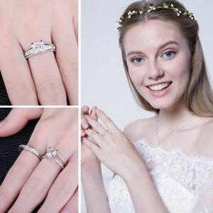 Image 4 - JPalace 2ct prenses nişan yüzüğü seti kadınlar için 925 ayar gümüş yüzük alyanslar kanal gelin seti gümüş 925 takı