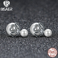 Hot Sale 100 925 Sterling Silver Women Big Double Sides Ball Stud Earrings Korean Fashion Party