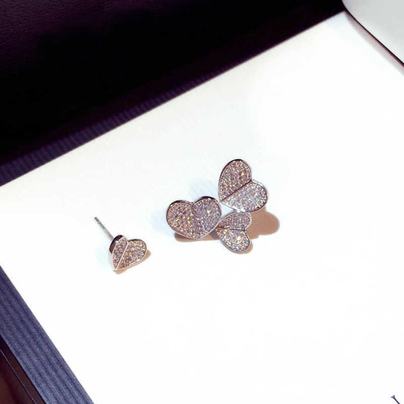 Utimtree New Genuine 925 Sterling Silver Asymmetry Heart Stud Earrings Jewelry Women CZ Zircon Earring for Party Birthday Gift