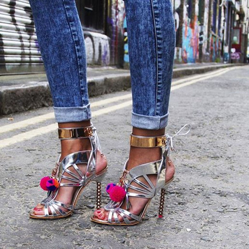 fc94754a5cb Aliexpress.com : Buy Summer Glitter Silver/Black Woman Bobbles Pedant  Sandals Metallic Beading High Heels Multi Ball Mirror Leather Cut outs  Shoes ...