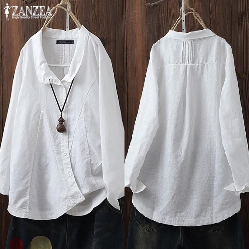 1e73bad95f81 Vestido de algodón de las mujeres, blusa de lino, 2019 ZANZEA Plus tamaño  túnica mujer Irregular ...