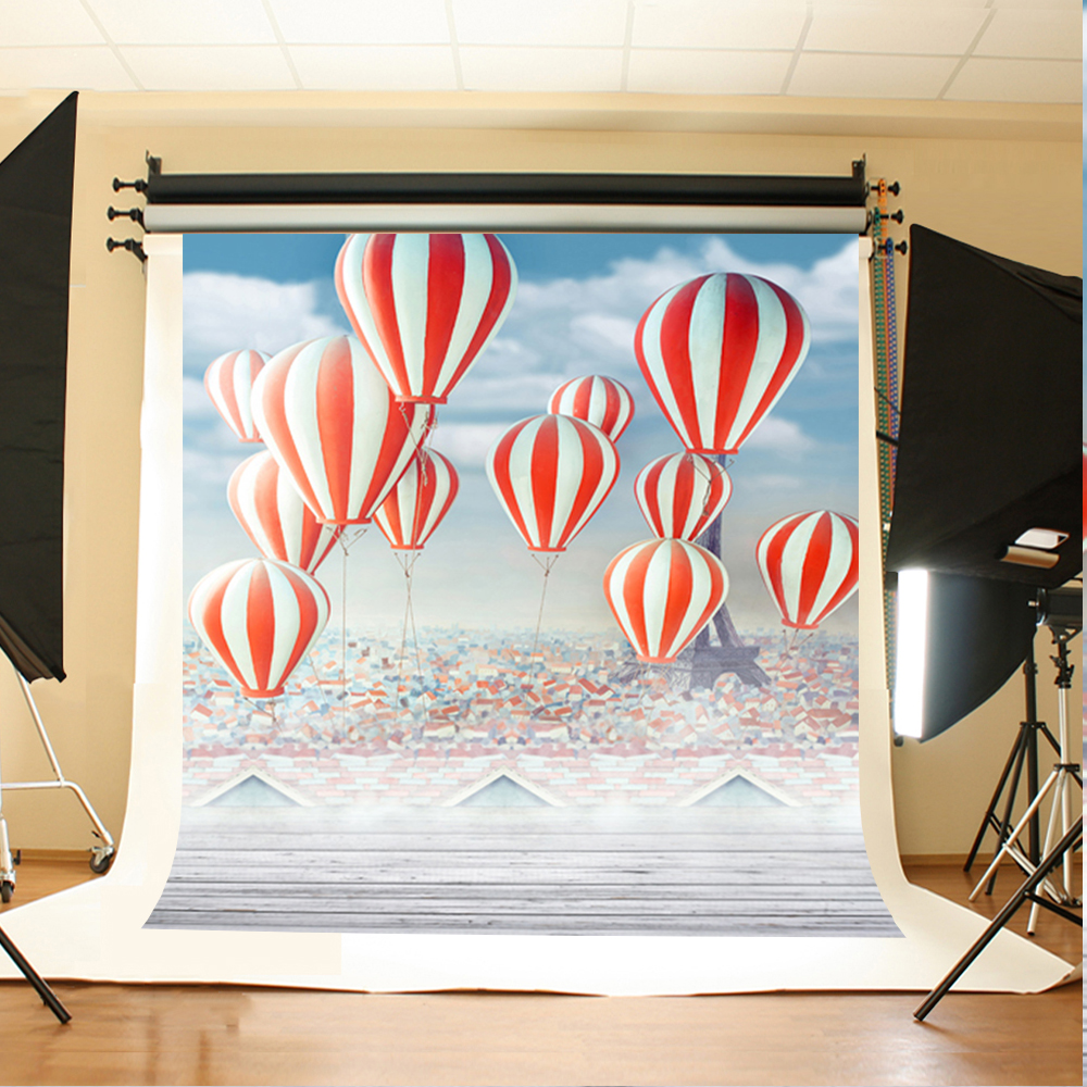 Wedding Photo Backdrops Wooden Floor Tower Photo Booth Backdrop Hot Air Balloon White Clouds Backdrops for Photographic Studio
