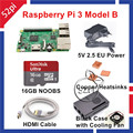 2016 New Arrival NOOBS Starter Kit com Pi Raspberry Pi 3 Modelo B 3 Placa + 16G SD NOOBS + HDMI + UE/EUA/REINO UNIDO/AU Poder + Dissipadores de Calor + Caso + Fã
