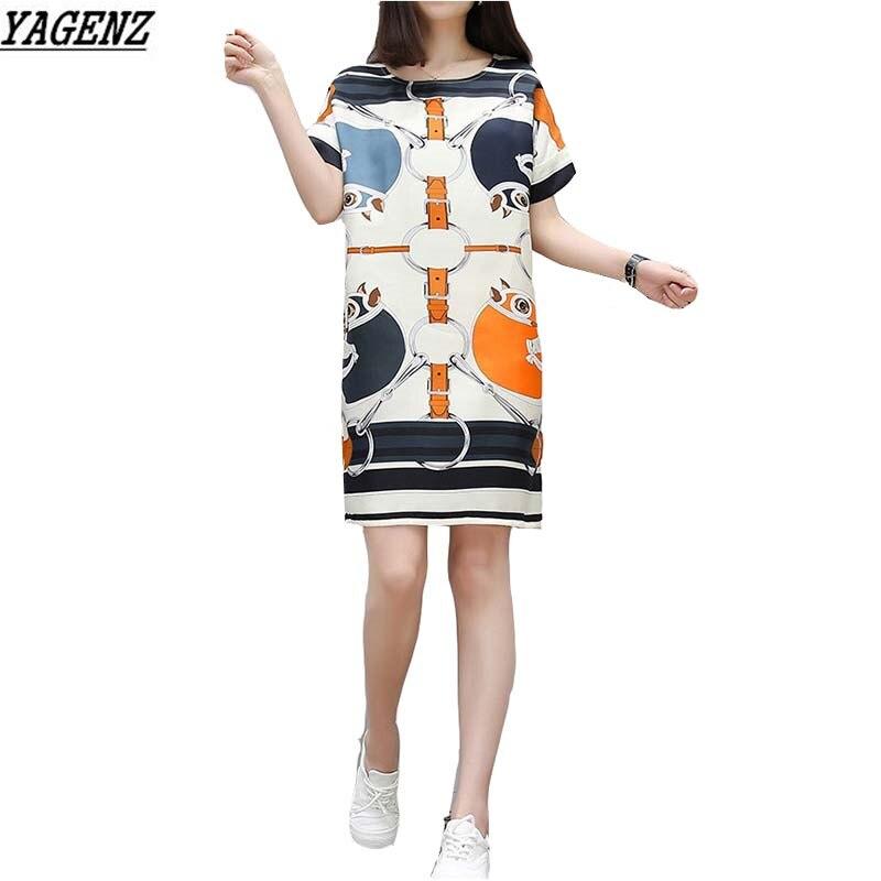 Robe d'été en mousseline de soie 2017 femmes coréennes vêtements o-cou à manches courtes imprimé robe Sexy lâche grande taille décontracté femmes robes YAGENZ