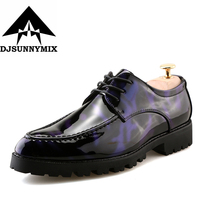 DJSUNNYMIX Brand Autumn Winter Mens Shoes Dress Sales Thick Bottom Mixed Color Fashion Oxford Formal Business