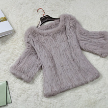 Free shipping new knitted genuine real rabbit fur coat women's natural fur sweater hand-knitted fur outwear
