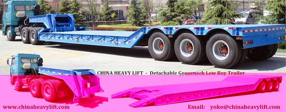 China HEAVY LIFT remolque towhaul Lowboy cuello de cisne desmontable ...