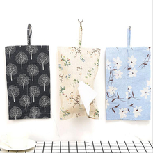 Hanging Cotton Facial Tissue Storage Box Washable Bathroom Hanging Bag Simple Elegant Eco-Friendly Velcro Pocket Pliable Tough