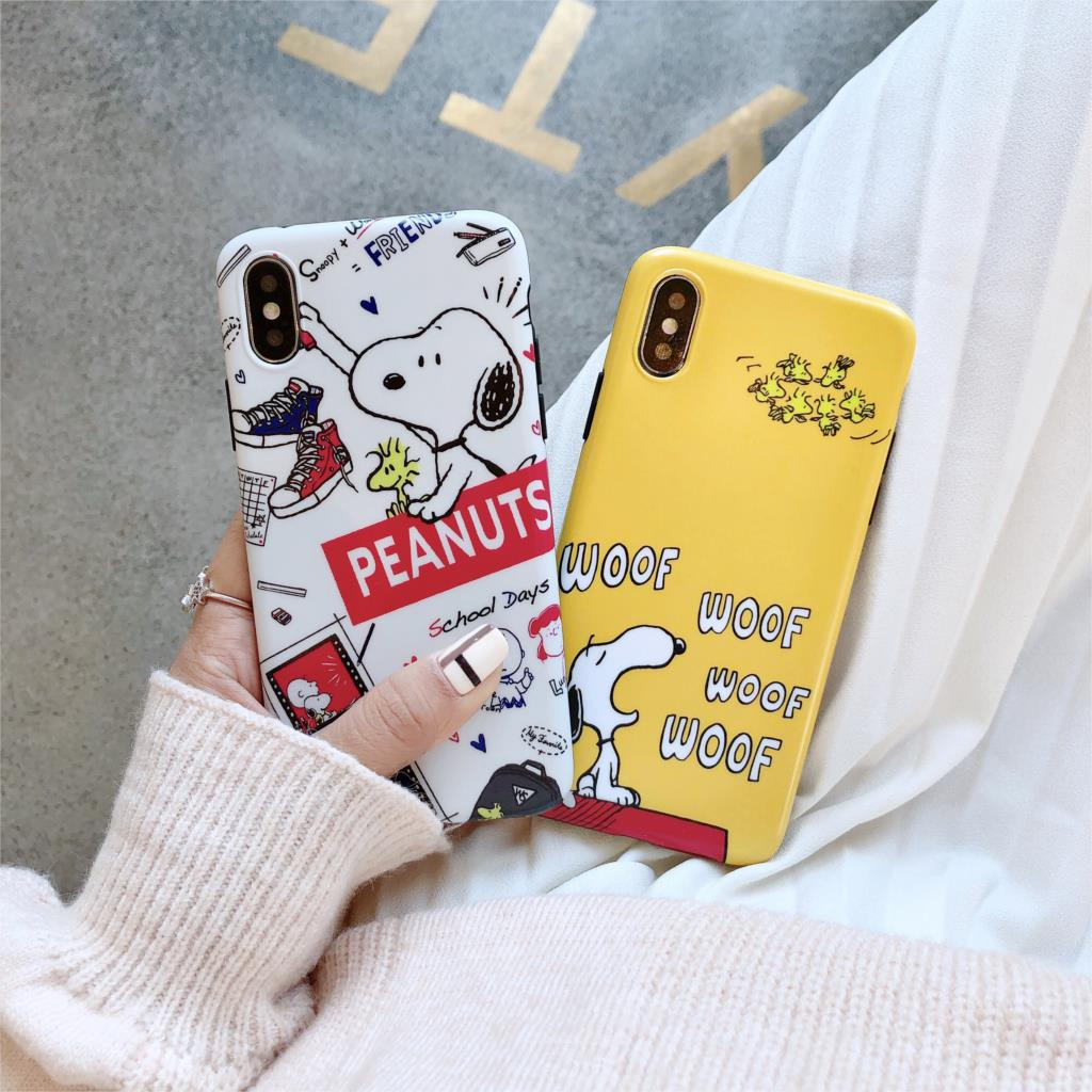 Cute Cartoon Snoopy Funda For Iphone X Case Matte IMD Phone Case For Iphone X XR XS Max 6 6S 7 8 Plus Cover Soft TPU Capa