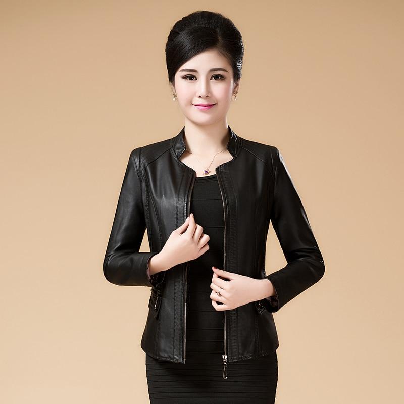 2018 New Brand Women's Short Washed PU Leather Jacket Ladies Elegant Basic Jackets Coat Female Outerwear Clothing Plus Size 6XL
