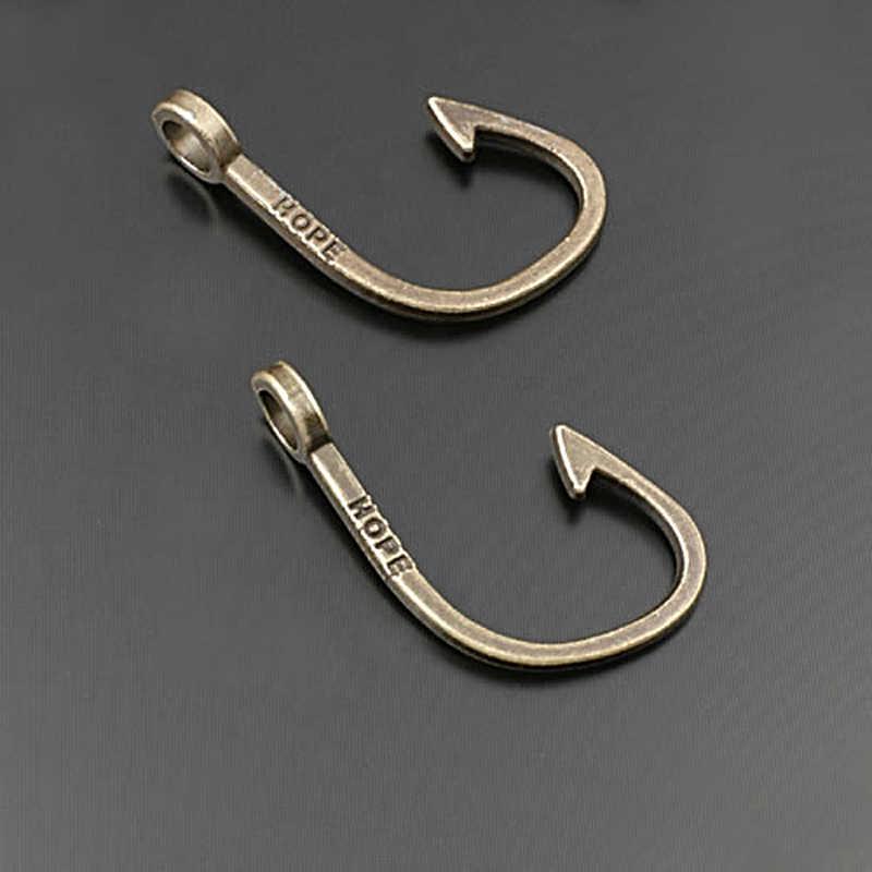 (27943) 20 Pcs 33X22 Mm Perak Antik Paduan Seng Berharap Kait Ikan Hiasan Liontin Temuan Perhiasan Grosir Aksesoris