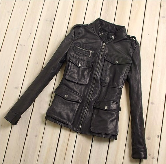 Factory Genuine Leather Jacket For Women 100% Real Seepskin Black Soft Slim Multiple Pockets Women's Leather Spring Autumn Coat