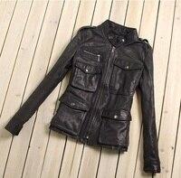 Фабрика пояса из натуральной кожи куртка для женщин 100% натуральная кожа Seepskin черный мягкий тонкий несколько карманов женщи