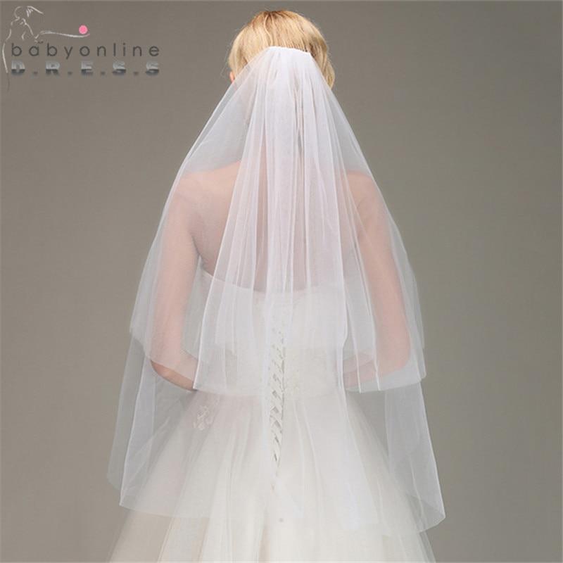 Wedding-Veil Short Voile Comb Mariage Tulle Two-Layers With Cheap Bridal Cut-Edge Veu-De-Noiva