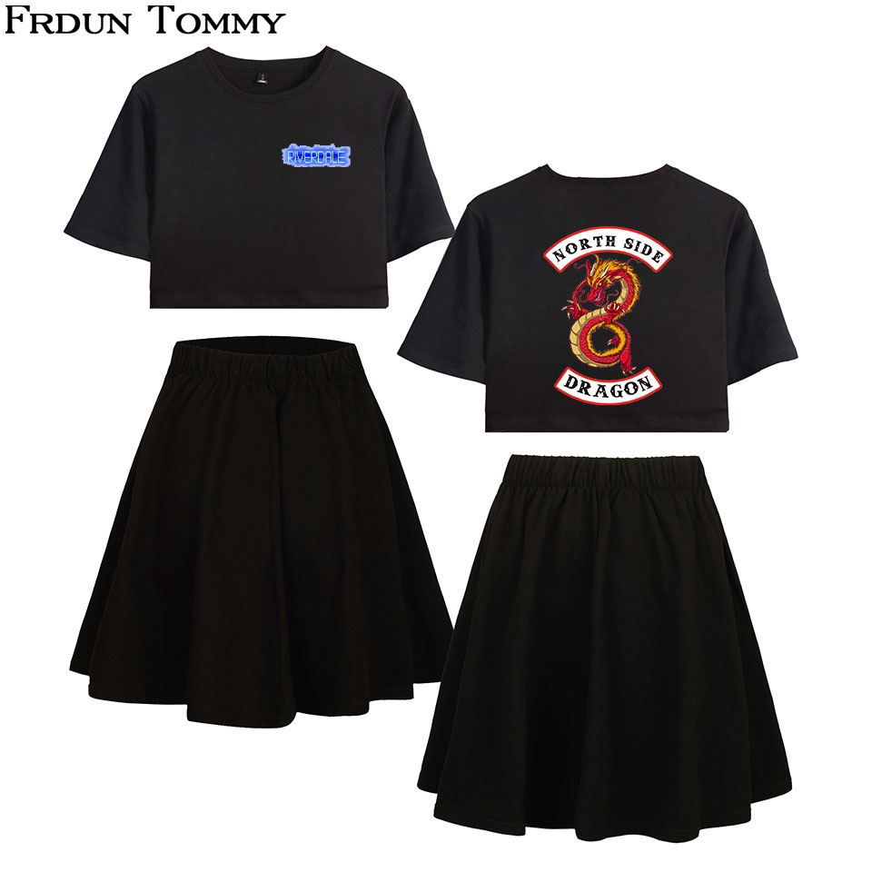Frdun Tommy Riverdale Short Skirt Suit Hot 2 Short Sleeve T-shirt And Short Skirt Suit Two Piece High Quality Casual New Sets