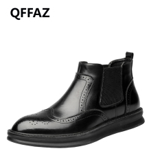 QFFAZ Brogue Leather Autumn Winter Shoes Men Chelsea Boots Fashion Men's Boots Male Brand Ankle Boots black leather shoes