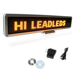 22inch SMD Programmable LED Message Sign Scroll Display Desk Advertising Board 16x128 -Yellow message