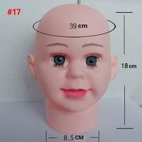 1pcs Big Eyes Head Circumference 39cm Infant Baby Head Model Bald Boy Show Hat Glasses Scarf