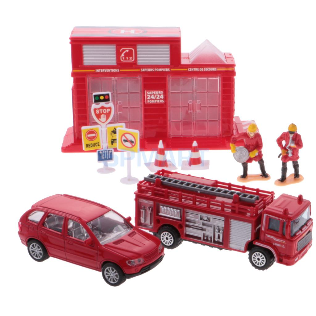 Simulation Scene Car Game Toy Set Kids Truck Car Helicopter Model Toy Set Fire Engine Set 12 Pcs