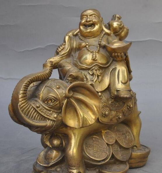 free shipping S2355 china buddhism bronze wealth Elephant coin gold bag happy laugh Maitreya Buddha tibet buddhism copper bronze green tara guan yin boddhisattva buddha god statue