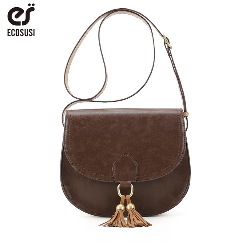 ECOSUSI Women Saddle Bags PU Leather Messenger Bags Women Crossbody Bags With Tassel Female Crossbody Bags stylish and luxurious oval crossbody bags for women soft lychee calfskin with unique locks decorated women messenger bags