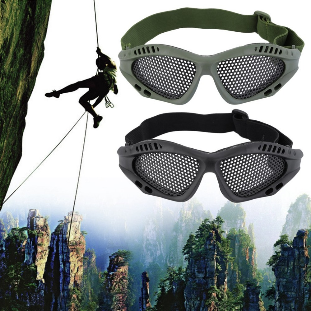 Camping Hiking Outdoor Activities Eye Protective Safety Tactical Durable Metal Mesh Glasses Eyewear Goggle Accessory New