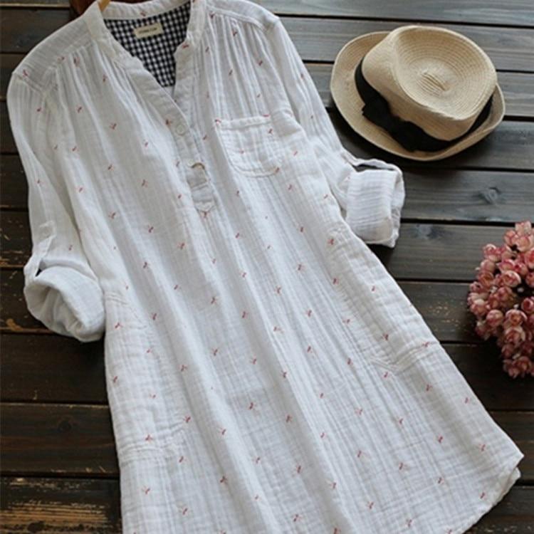 Autumn Women Tops Casual Printed Cotton Linen Long Sleeve Women Blouses Blusas Vintage Shi