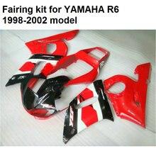 Новый горячий moto части обтекатели для Yamaha YZFR6 98 99 00 01 02 красный черный кузов обтекатель комплект для YZF R6 1998-2002 YO22