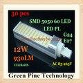 Envío gratis 30 unids G24 G23 B22 E27 12 W SMD 5050 60 LED PL bulbo del maíz LED PLC droplight 930LM LED transversal insertados luz