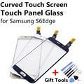 Curvo Tela de Toque Digitador Toque Lente Painel de Vidro TouchScreen para samsung s6 edge s6edge ouro azul escuro branco azul + gift ferramenta