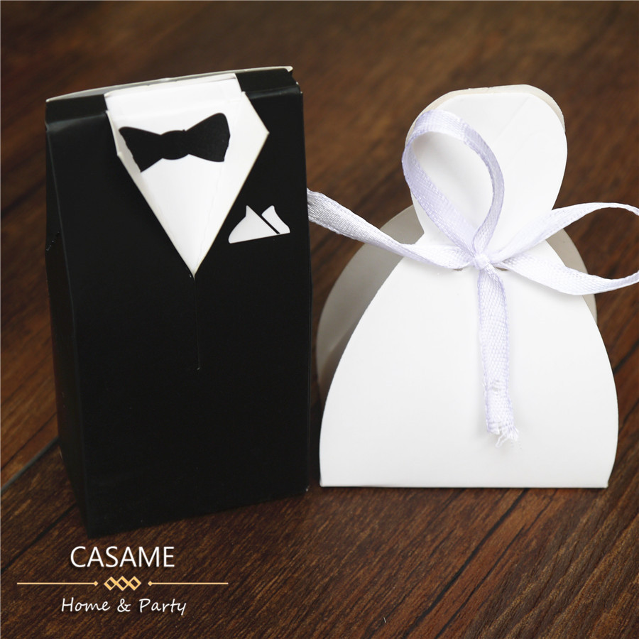 100pcs Bride And Groom Design Sweet Box Cartoon For Cookies Wedding Party Decoration Favor Gift Candy Chocolate Bo In Bags Wring Supplies