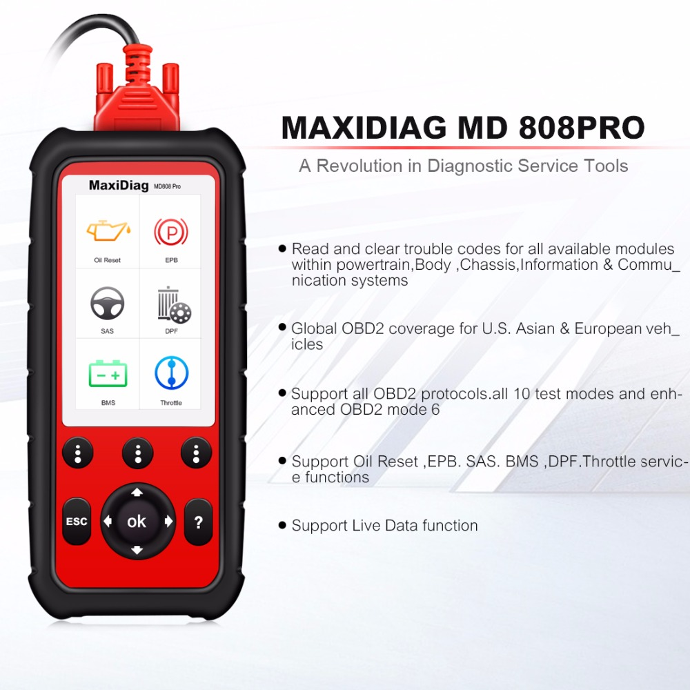 Image 2 - Autel Maxidiag MD808 PRO OBD2 Auto Scanner Diagnostic Tool OBD 2 Car Diagnostic Scanner scania Automotivo Automotriz Scan Tool-in Code Readers & Scan Tools from Automobiles & Motorcycles