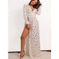 Ysmarket أزياء مثير عالية شق طباعة الذهب الريشة فساتين الأبيض prom رداء فام إته 2017 طويل الأكمام فستان ماكسي vestidos y1001