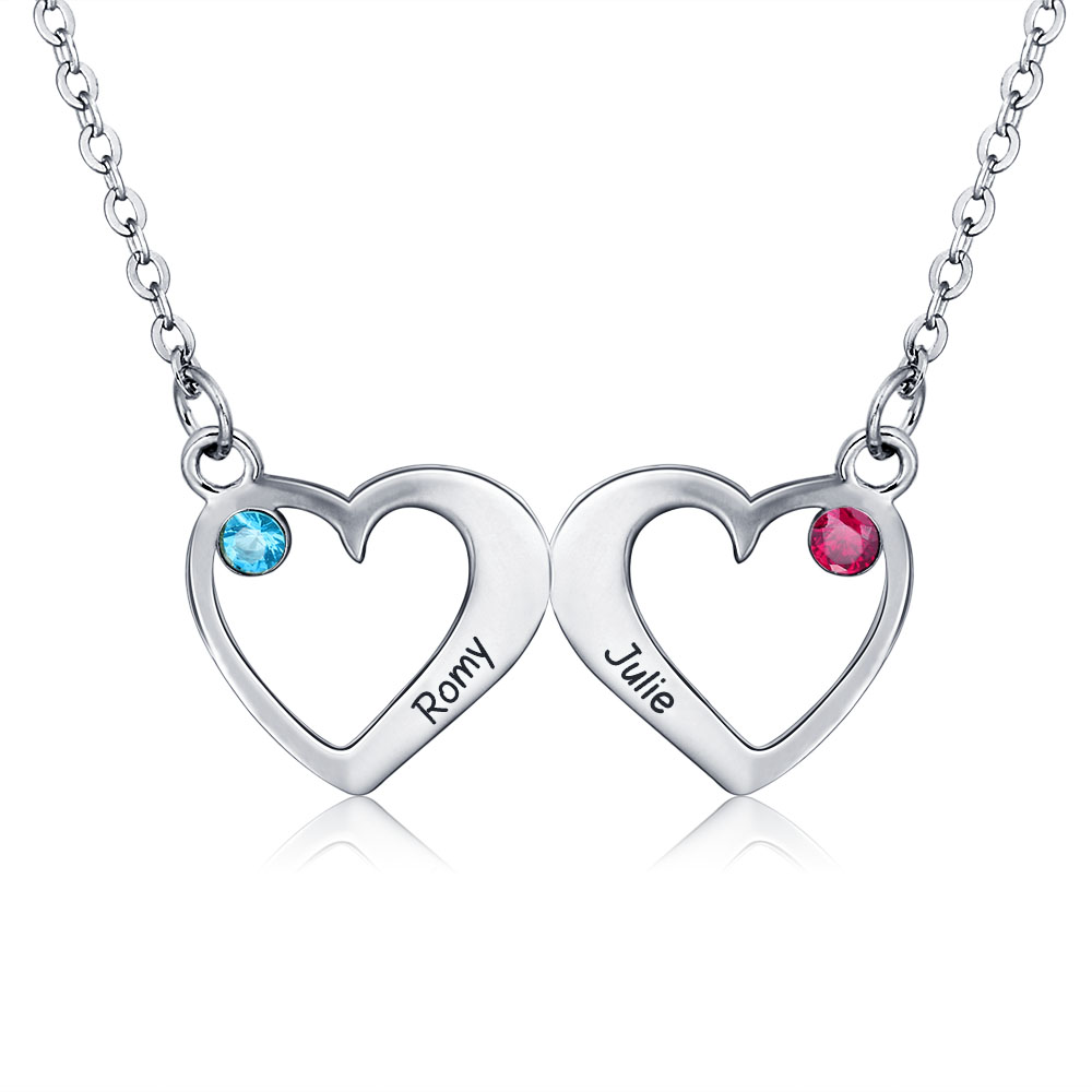 Customized Pendants Necklaces 925 Sterling Silver Double Heart Birthstones Personalized Necklace Couple Lover Gift (NE101326) fashion custom lettering 925 silver love heart shaped couple necklace peach heart pendants for men and women yp3196